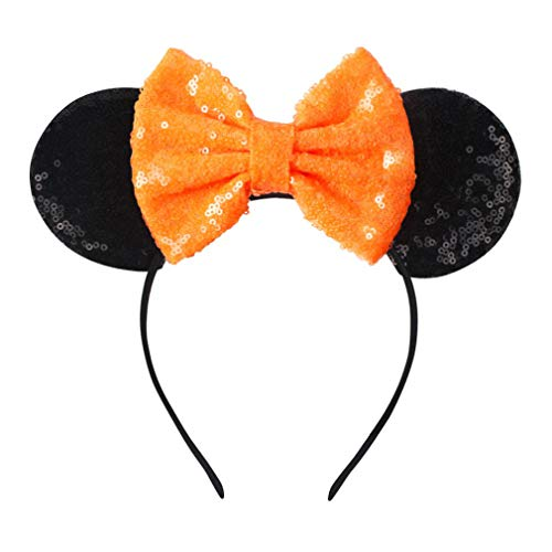 YanJie Halloween Sequin Mouse Ears - Glitter Hair Accessories Party Favor Decoration Cosplay Costume for Children & Adults(Black)