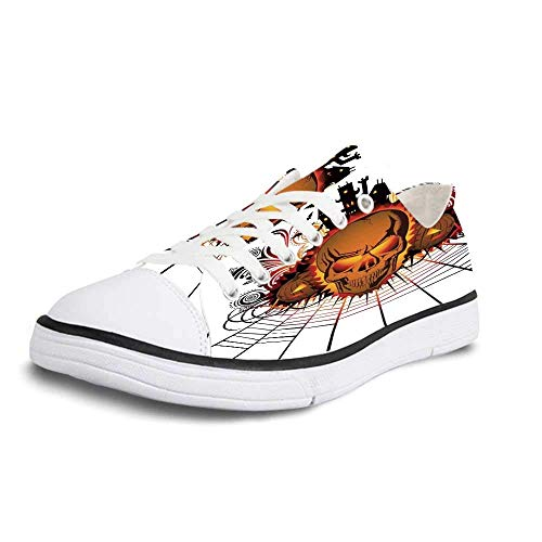 Canvas Sneaker Low Top Shoes,Halloween Decorations Angry Skull Face on Bonfire Spirits of Other World Concept Bats Spider Web Women 11/Man 8]()