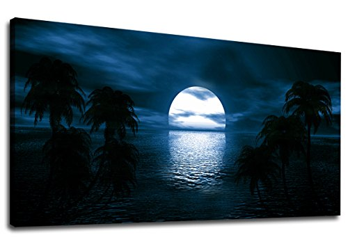 Canvas Wall Art Moon on Sea Ocean Night View Panoramic Blue Seascape Scenery Painting - Long Canvas Artwork Contemporary Nature Picture for Home Office Wall Decor 20'' x 40'' by yearainn