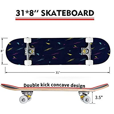 Classic Concave Skateboard Geometric Pattern Multicolored Lightning Dark Triangles Modern Longboard Maple Deck Extreme Sports and Outdoors Double Kick Trick for Beginners and Professionals : Sports & Outdoors