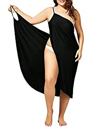 Jomago Women Bikini Cover up Spaghetti Strap Knee Long Backless Wrap Midi Dress