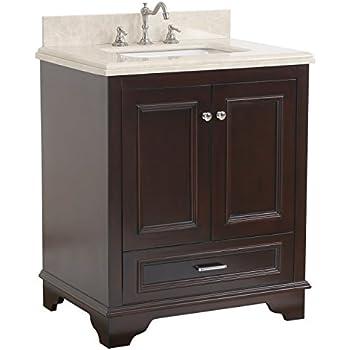 Nantucket 30 inch bathroom vanity crema marfil chocolate - 30 inch white bathroom vanity with drawers ...