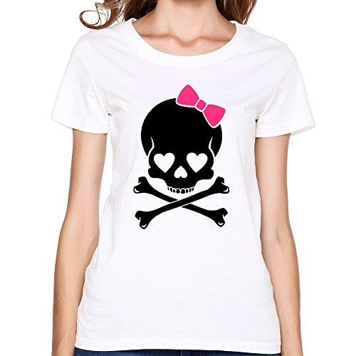 (SNOWANG Women's Girlie Skull T-shirt)