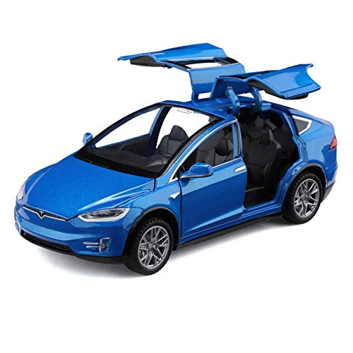 Diecast Toy Car Model X,Zinc Alloy Casting Pull Back Vehicles,1:32 Scale for 3 to 12 Years Old Toddlers Kids Toy Gift - with Lights and Music (Blue)