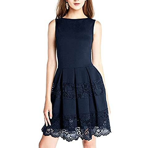 Dressystar DS0011 Sleeveless Cocktail Party Dress Floral Lace Skirt See-through M Navy