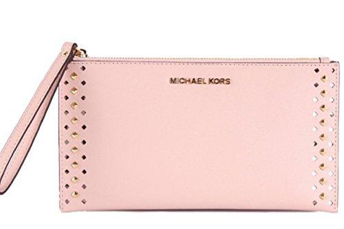 Michael Kors Studded Jet Set Travel Leather Clutch Wristlet Bag , (Studded Wristlet Clutch)