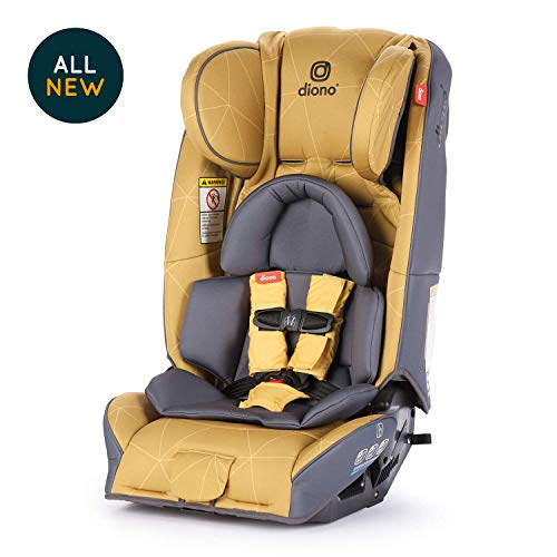Diono Radian 3RXT All-in-One Convertible Car Seat - Extended Rear-Facing 5-45 Pounds, Forward-Facing to 65 Pounds, Booster to 120 Pounds - The Original 3 Across, Yellow Sulphur
