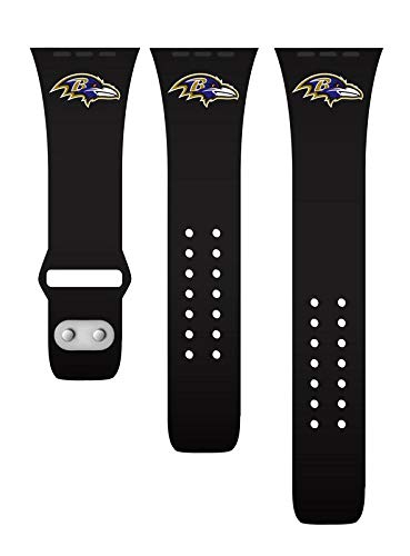 GAME TIME Baltimore Ravens Black Silicone Watch Band Compatible with APPL Smart Watches (38mm/40mm Black)