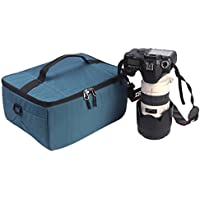 YuHan Waterproof Anti-shock SLR/ DSLR Case Large Capacity Camera Bag Professional Lens Organizer Travel Shoulder Bag with Inner Padding for Canon Nikon Sony Nikon Olympus Samsung Blue