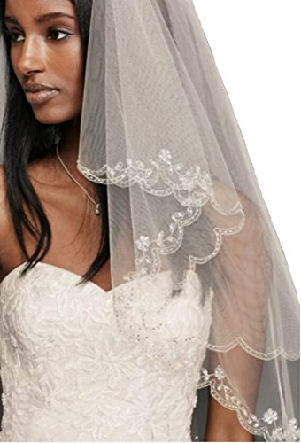 Color Veil (Passat Champagne 1 Tier 160CM Walking Veil wedding vails beautifully beaded scallop edge Wedding Bridal Veil 137)