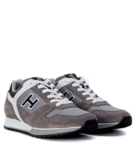 Sneaker Hogan H321 en piel gris, blanca y plomo Gris
