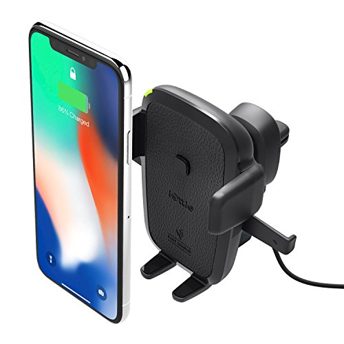 iOttie Easy One Touch Qi Wireless Air Vent Fast Charge Mount for Samsung Galaxy S9 S9 Plus S8 S7/S7 Edge Note 8 5 & Standard Charge for iPhone X 8/8 Plus & Qi Enabled Devices Includes Dual Car Charger