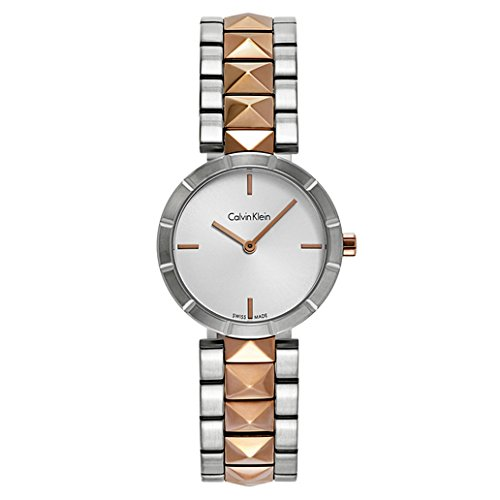 Calvin Klein Edge Womens Two Tone Stainless Steel Plated Rose Gold Watch with Metal Band - Ladies 30mm Analog Silver Face - Luxury Swiss Made Quartz Dress Watches For Women K5T33BZ6 ()