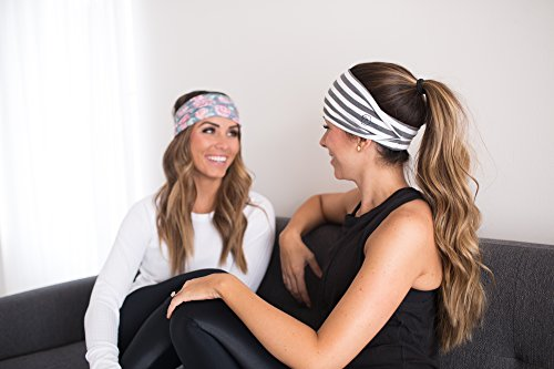 """Women's Headband Yoga Running Exercise Sports Workout Athletic Gym Wide Sweat Wicking Stretchy No Slip 2 Pack Set Floral Gray Stripe """"BODHI"""" by Maven Thread"""