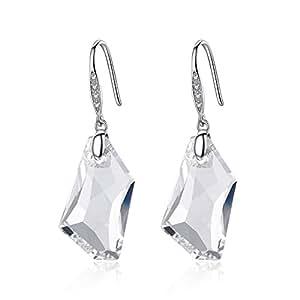 GoSparking cristalinos 925 pendientes de plata con el cristal austriaco para las mujeres (Clear)