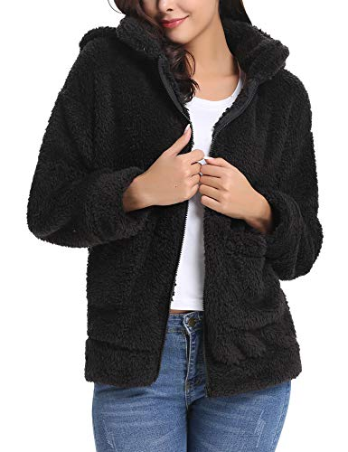 Abollria Women's Long Sleeve Coat Casual Lapel Fleece Fuzzy Faux Shearling Zipper Warm Winter Oversized Outwear ()