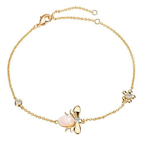 - JOUDOO 14K Gold Honeybee Link Bracelet with Flower Rhinestone Adjustable SZ017 (Gold)