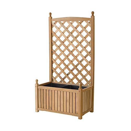 DMC Products Lexington 28-Inch Rectangle Solid Wood Trellis Planter -