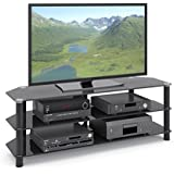 CorLiving TRA-704-T Trinidad Black Glass TV/Component Stand for TVs up to 60-Inch