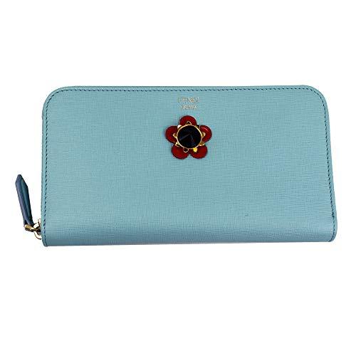 (Fendi Studs Blue Leather Zip Around Long Wallet 8M0299)