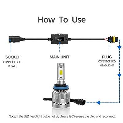 Crownova Enhanced LED CANbus Decoder, Anti-Flicker Harness, Error Free Resistor for H11/H9/H8: Automotive