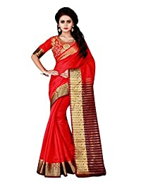 Shonaya Women`S Designer Cotton Silk Printed Saree with Unstitched Blouse Piece