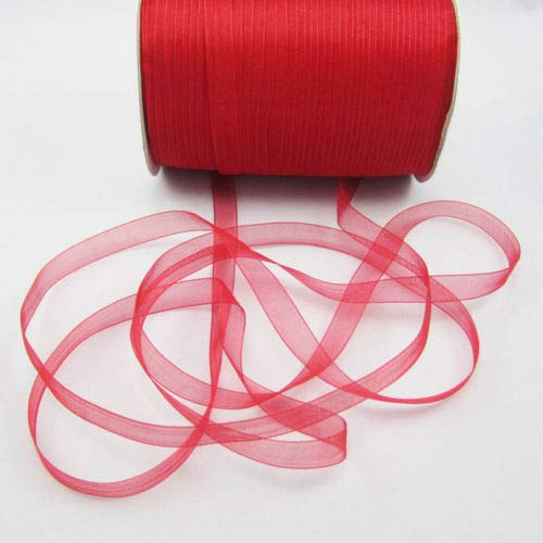 "FidgetFidget Wholesale 50 Yards 3/8"" 9mm Satin Edge Sheer Organza Ribbons Bows Crafts DIY Red"