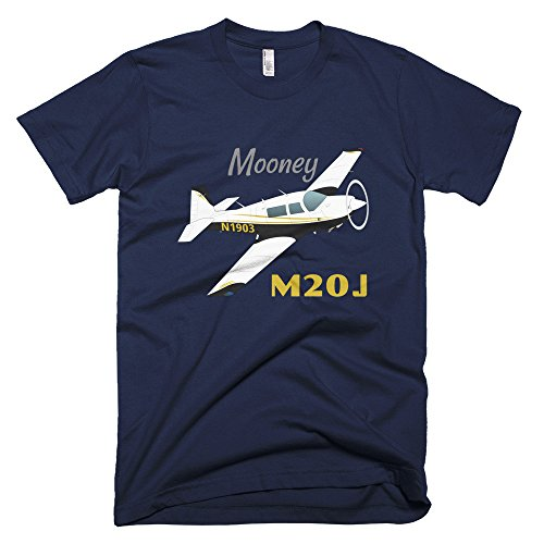 Mooney M20J / 201 Custom Airplane T-shirt- Personalized with N# Navy / L - Mooney Airplane