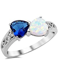Heart Simulated Sapphire & Lab Created White Opal .925 Sterling Silver Ring Sizes 4-10
