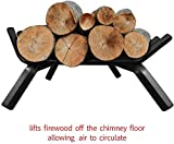 """Amagabeli Black Wrought Iron Fireplace Log Grate 30 inch Wide Heavy Duty Solid Steel Indoor Chimney Hearth 3/4"""" Bar Fire Grates for Outdoor Kindling Tools Pit Wood Stove Firewood Burning Rack Holder"""