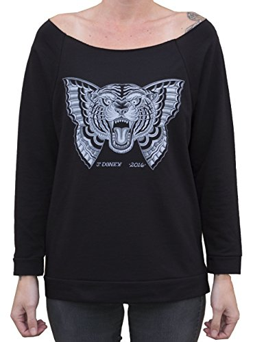 Women's Flying Tiger by Jacob Doney Cat Butterfly Tattoo Unfinished Sweatshirt -