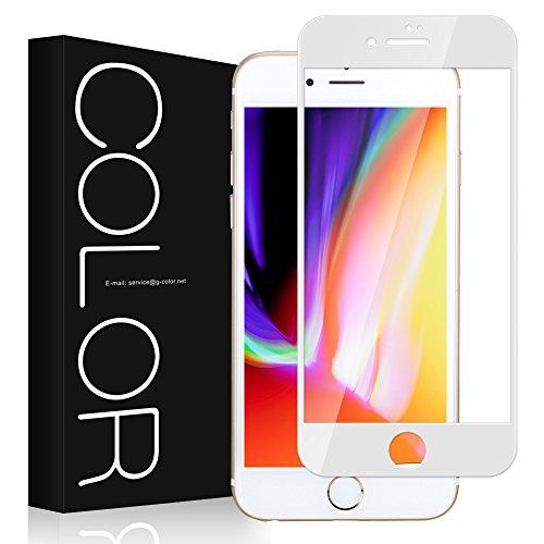 より良い処分した印象派iphone 8 plus フィルム 3D 全面 G-Color iphone 8 plus ガラスフィルム 3D 曲面デザイン 3Dラウンドエッジ加工 iphone 8 plus 対応 5.5インチ 強化ガラス 98%透過率 光沢 透明ケース付き (ホワイト)
