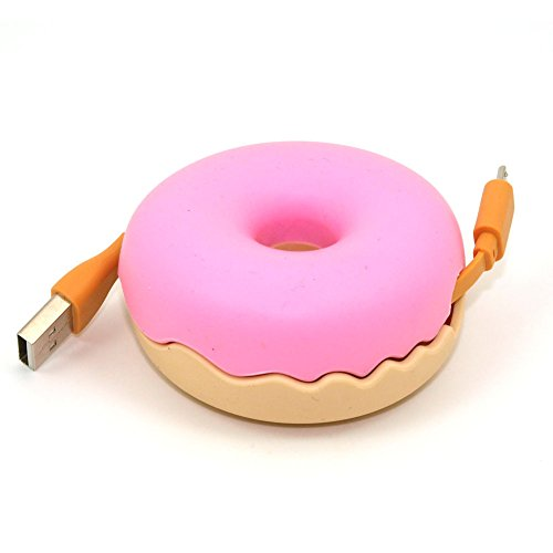 RealFun Donuts shape USB Cable Manager, Silicon Cord Case, Earphone Turtle Reel Winder, Portable Cable Storage, Compatable Wire Organizer (Cute Donut)