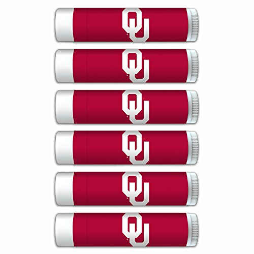 $2.00 OFF Oklahoma Sooners Smooth Mint Lip Balm 6-PACK with SPF 15, Beeswax, Coconut Oil, Aloe Vera. NCAA Gifts for Men and Women on Mother's Day, Father's Day, Stocking (Oklahoma Lady Sooners Basketball)