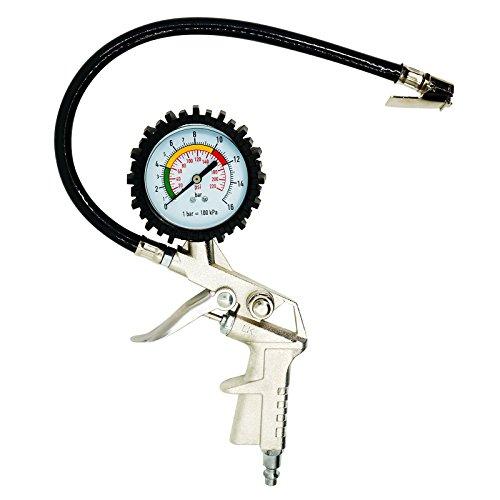 220psi Car Truck Air Tire Inflator Gauge Gun Vehicle Air Pressure Monitoring Tool (Silver)