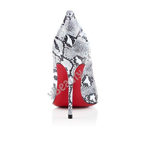 uBeauty Runde Zehen High Heels 12 cm Pumps Sexy Rote Sohle Stiletto Slip On Pumps Große Größe Pumps Serpentin A