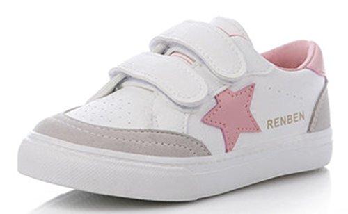 VECJUNIA Mädchen Atmungsaktiv Runde Zehe Flach Low-Top mit Sterne Alphabet-Logo Sneaker (Kleine Kinder/Große Kinder) Weiß2