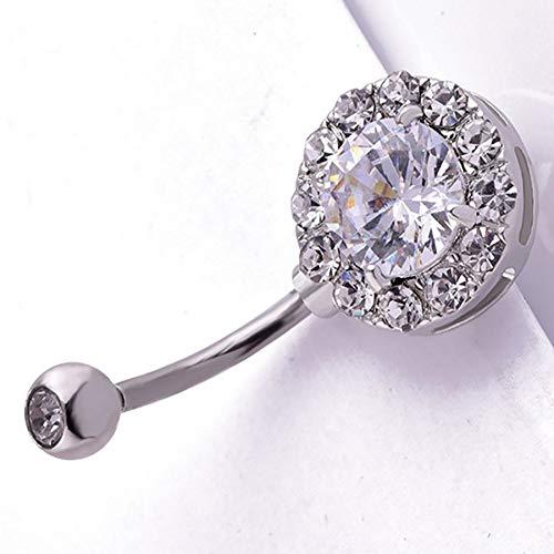 Anti Allergy Round Zircon Piercing Navel Surgical Belly Button Rings Navel Piercing Belly Button Ring for Women Jewelry