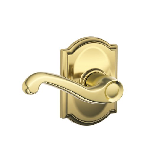 Passage Flair Lever (Schlage F10 FLA 605 CAM Camelot Collection Flair Passage Lever, Bright Brass)