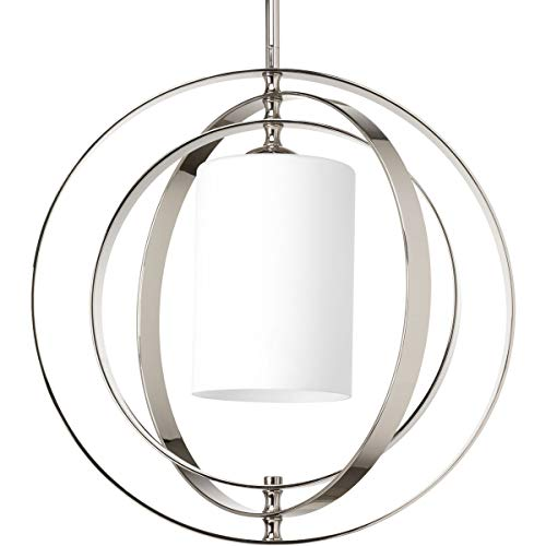 Progress Lighting Equinox Medium Foyer Chandelier Light with Etched Opal Glass Shade, Polished Nickel, Item P7078-104