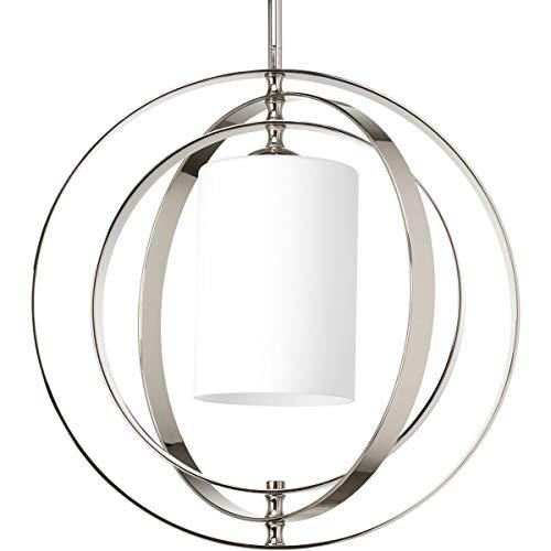 - Progress Lighting Equinox Medium Foyer Chandelier Light with Etched Opal Glass Shade, Polished Nickel, Item P7078-104