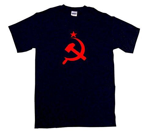 Russian CCCP Hammer & Sickle Flag Logo Men's Tee Shirt Large-Black