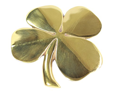 4 Wall Plaques - Four Leaf Clover Wall Hanging Brass with Irish Blessing