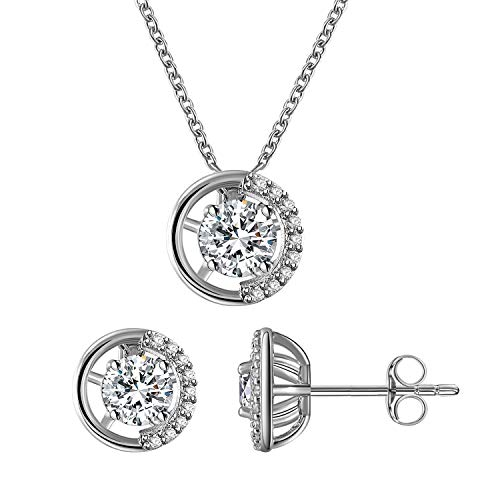 894f8d01f Gercia Jewelry Set 5A Cubic Zirconia Pendant Necklace and Stud Earrings  Round Necklace Earring Set Valentine's