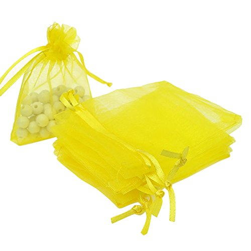 Tvoip Drawstring Organza Jewelry Favor Pouches Wedding Party Festival Gift Bags Candy Bags (Pack of 50) (Yellow)
