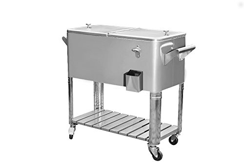Sunjoy 80Qt Stainless Steel Patio Cooler with Shelf (Stainless Wheels Cooler On Steel)