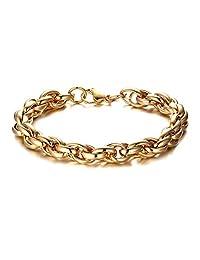 Fusamk Hip Hop Plated 18K Gold Titanium Steel Multi Circle Link Bracelet