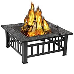 Fire Pits ZENY 32'' Outdoor Fire Pits BBQ Square Firepit Table Backyard Patio Garden Fire Bowl Stove Wood Burning Firepit… firepits