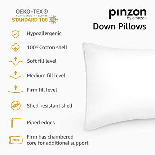 Pinzon Shed-Resistant White Duck Down Pillow - Firm Density, Standard