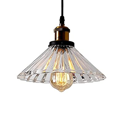 ECOBRT Glass Pendant Lights Fixtures Modern 1 Head Ceiling Hanging Pendant Lights for Kitchen Island Dining Room